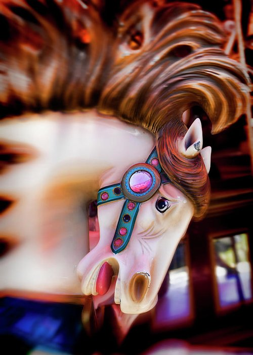 Carousel; Horse; Merry -go- Round; Horses; Amuse; Amusement; Park; Carrousels; Ride; Fairs; Entertainment; Spinning; Fantasy; Motion; County Fair; Pony; Childhood; Nostaigia; Antiques; Moody; Graphic; Worn; Mane; Animal; Vertical; Still Life Greeting Card featuring the photograph Carousel Horse Portrait by Garry Gay
