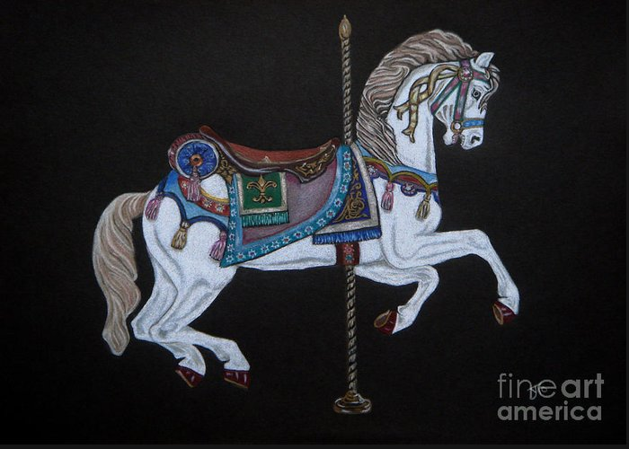 Carousel Horse Greeting Card featuring the drawing Carousel Horse by Yvonne Johnstone
