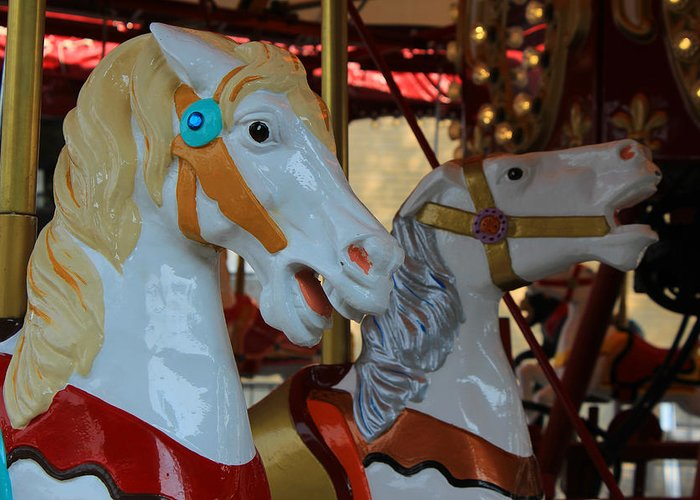 Horse Greeting Card featuring the photograph Carousel Horses At A Fair by Robert Hamm