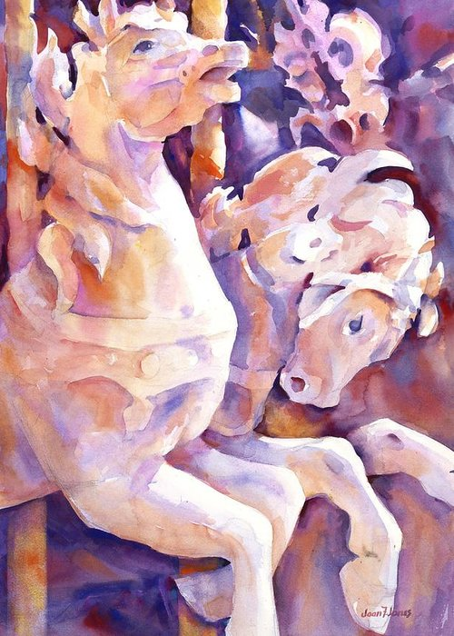 Carousel Horses Greeting Card featuring the painting Carousel Horses by Joan Jones