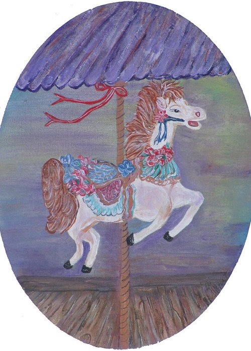 Carousel Greeting Card featuring the painting Carousel by Mikki Alhart
