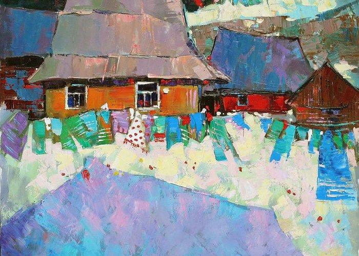 Ukraine Greeting Card featuring the painting Carpathian Assorted by Anastasija Kraineva