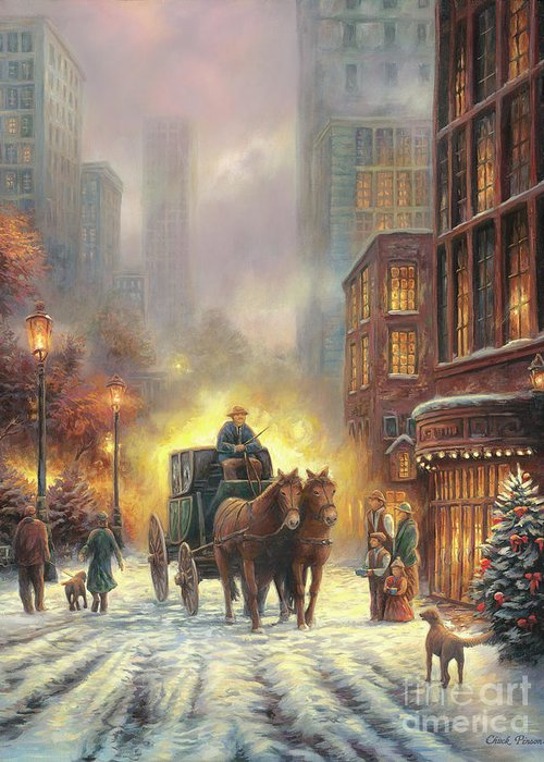 City Snow Scene Greeting Card featuring the painting Carriage Ride by Chuck Pinson
