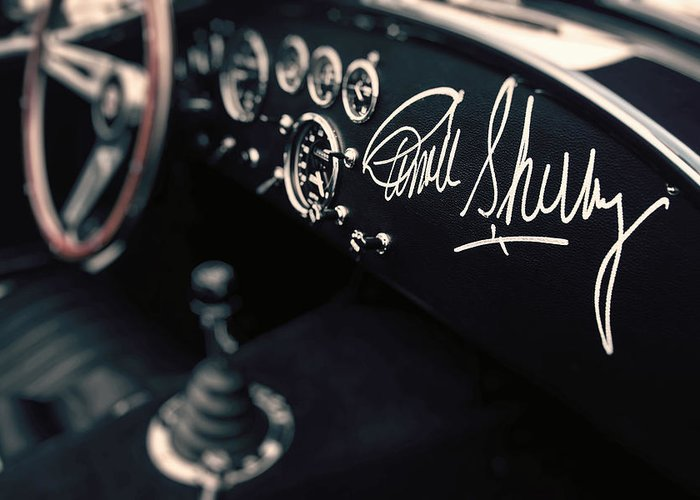 Shelby Greeting Card featuring the photograph Carroll Shelby Signed Dashboard by Paul Bartell