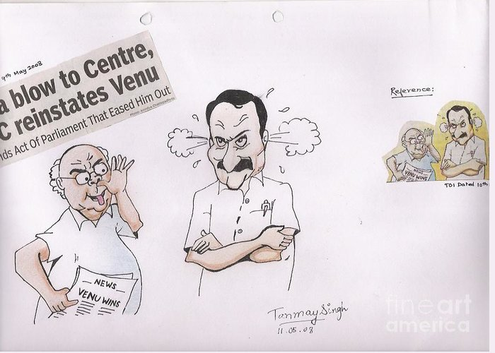 Indian Politician Drawing Greeting Card featuring the painting Cartoon by Tanmay Singh