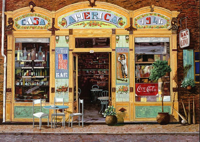 Coffe Shop Greeting Card featuring the painting Casa America by Guido Borelli