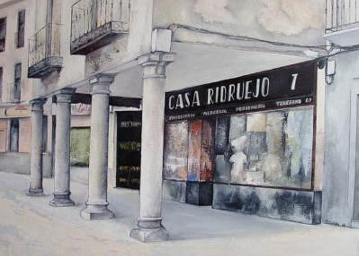 Casa Greeting Card featuring the painting Casa Ridruejo Arevalo by Tomas Castano