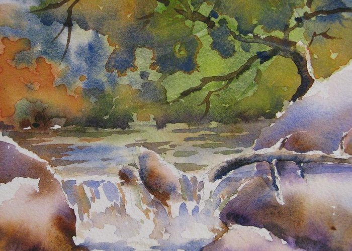 Watercolor Greeting Card featuring the painting Cascade 2 by Chito Gonzaga