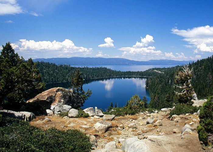 Lake Tahoe Greeting Card featuring the photograph Cascade Lake And Lake Tahoe by Troy Montemayor