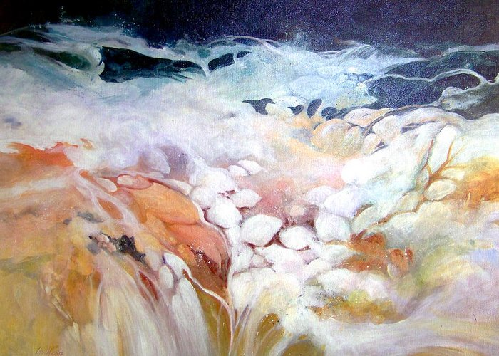 Acrylic;painting;water;rocks;waterfall;contemporary; Greeting Card featuring the painting Cascade by Lois Mountz