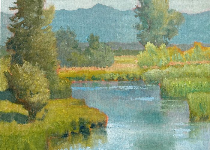 Marsh Greeting Card featuring the painting Cascade Pond by Robert Bissett
