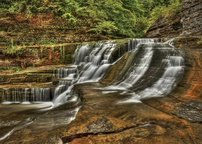 Ithaca Greeting Card featuring the photograph Cascades by Evelina Kremsdorf