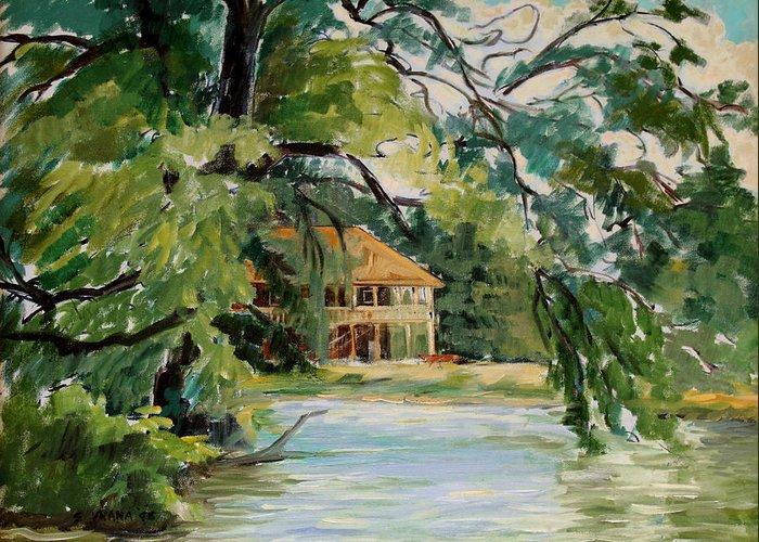 Cascadilla Boathouse Greeting Card featuring the painting Cascadilla Boathouse Ithaca New York by Ethel Vrana