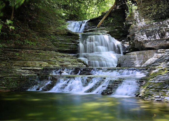Waterfall Greeting Card featuring the photograph Cascading Descent by Gary Yost