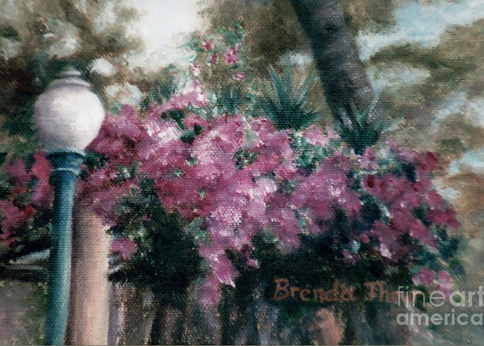 Flowers Greeting Card featuring the painting Cascading Flowers by Brenda Thour