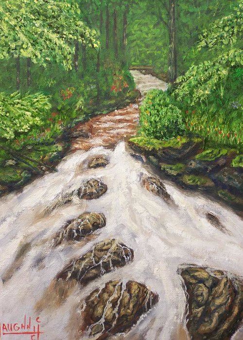 Water Land Scape Greeting Card featuring the painting Cascading Stream by Charles Vaughn