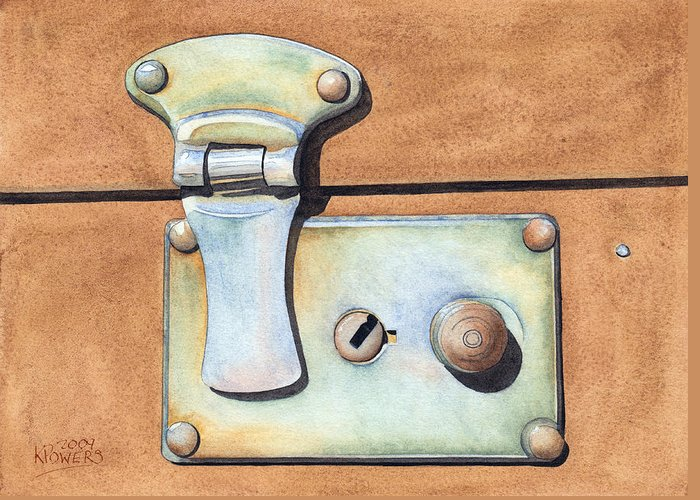 Case Greeting Card featuring the painting Case Latch by Ken Powers