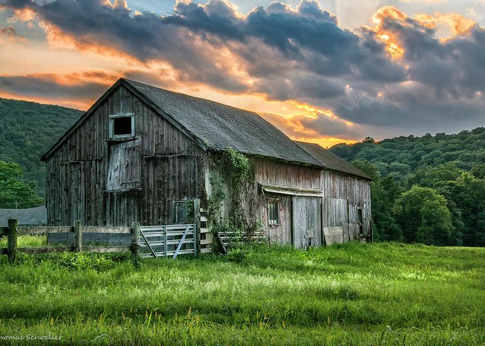 Farms Greeting Card featuring the photograph Casey's Barn by T-S Photo Art