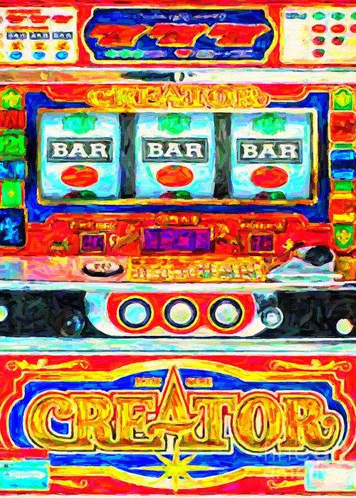 Slot Machine Greeting Card featuring the photograph Casino Slot Machine . One Arm Bandit . Triple Bar Bonus Jack Pot by Wingsdomain Art and Photography