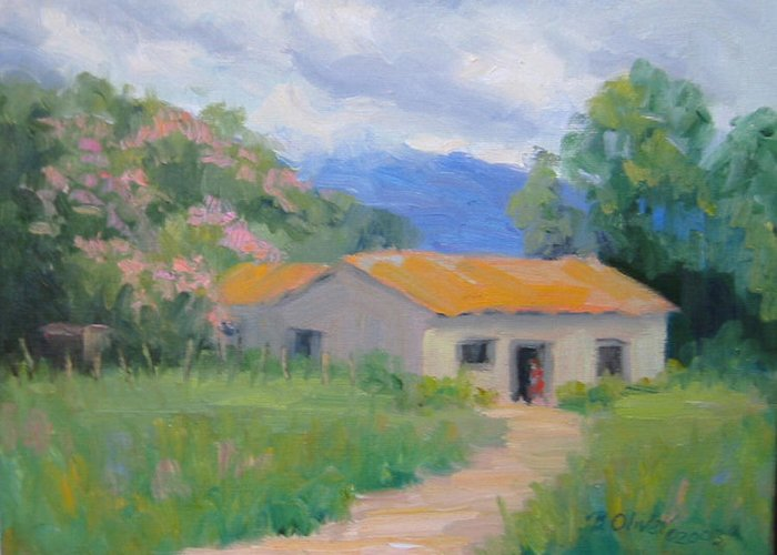 Honduras Greeting Card featuring the painting Casita De Campo by Bunny Oliver