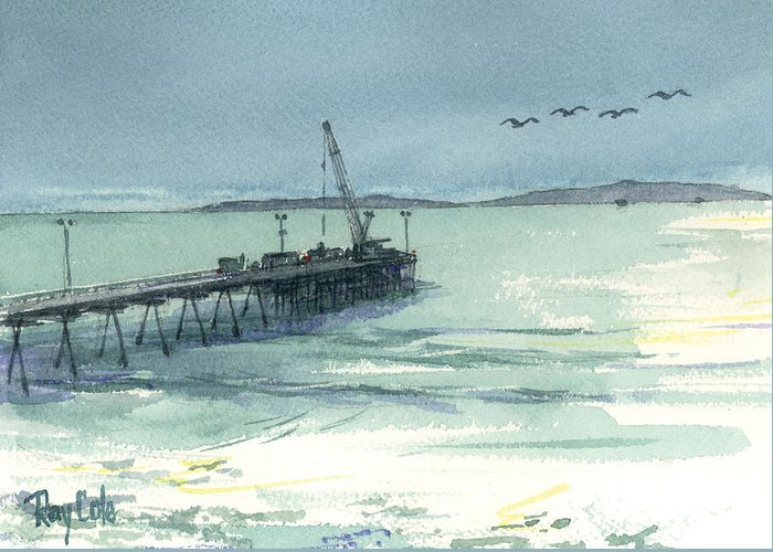 View Of Casitas Pier Greeting Card featuring the painting Casitas Pier 3 by Ray Cole