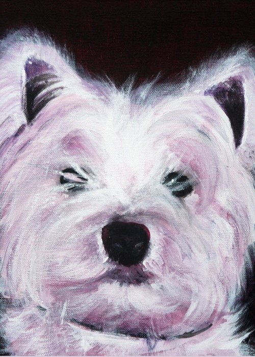 Dog Greeting Card featuring the painting Cassie by Fiona Jack