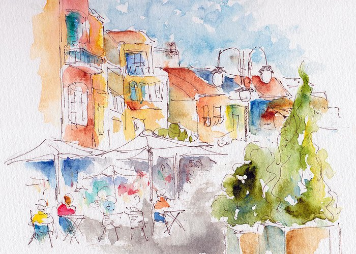 Cassis Greeting Card featuring the painting Cassis Along The Promenade by Pat Katz