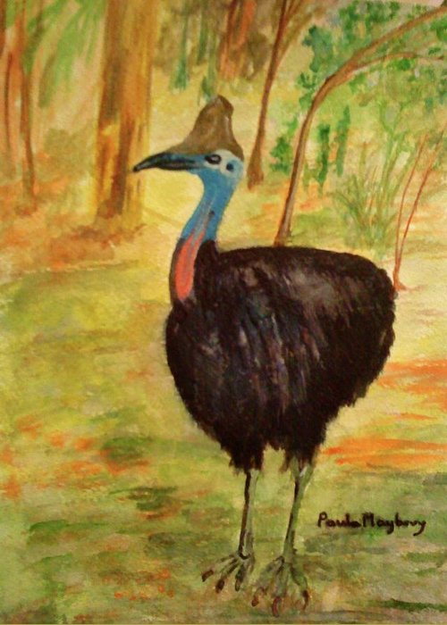 Large Bird Greeting Card featuring the painting Cassowary Bird by Paula Maybery
