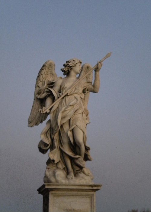Statuary Greeting Card featuring the photograph Castel St. Angelo Angel by Nancy Ferrier