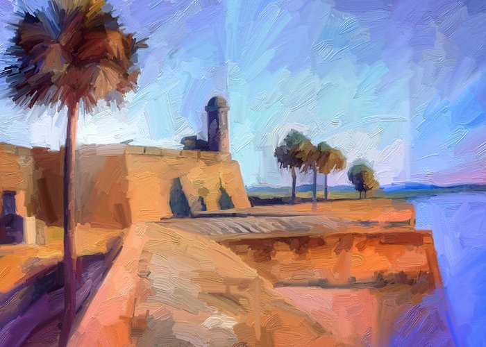 St. Augustine Greeting Card featuring the digital art Castillo Rampart by Scott Waters