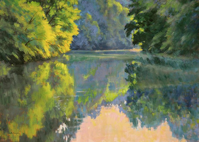 Impressionism Greeting Card featuring the painting Casting Blue by Keith Burgess