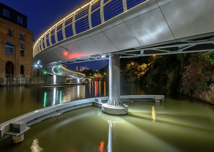 Architecture Greeting Card featuring the photograph Castle Bridge C By Night Bristol England by Jacek Wojnarowski