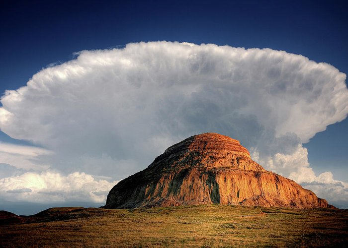 Cumulonimbus Greeting Card featuring the digital art Castle Butte In Big Muddy Valley Of Saskatchewan by Mark Duffy