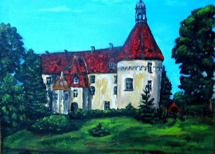 Old Town Greeting Card featuring the painting Castle Ciityscape Acrylic Painting by Natalja Picugina