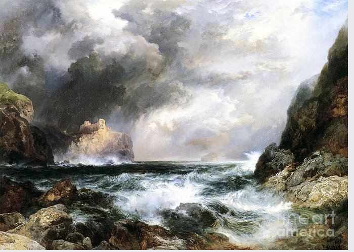 Waves Greeting Card featuring the painting Castle In Scotland by Thomas Moran