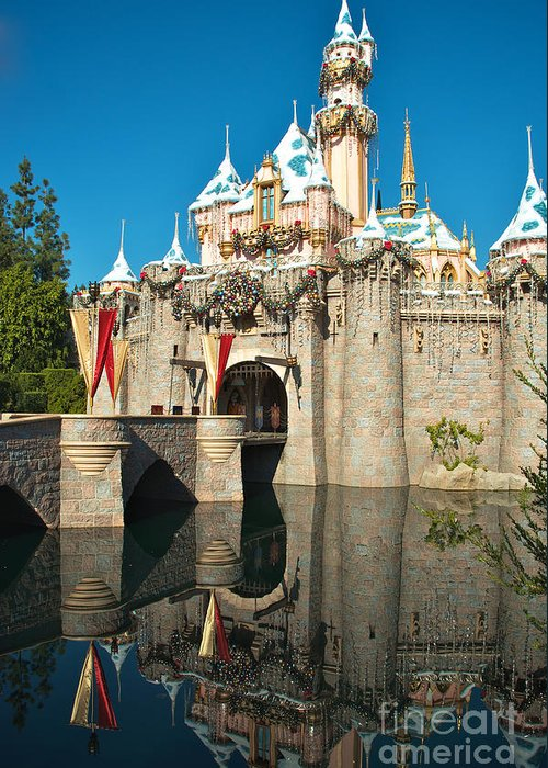 Disneyland Greeting Card featuring the photograph Castle Reflection by Jason Waugh