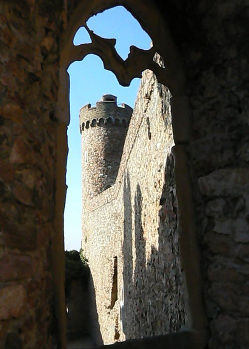 Castle Greeting Card featuring the photograph Castle Tower Thru Window by Ron Hayes