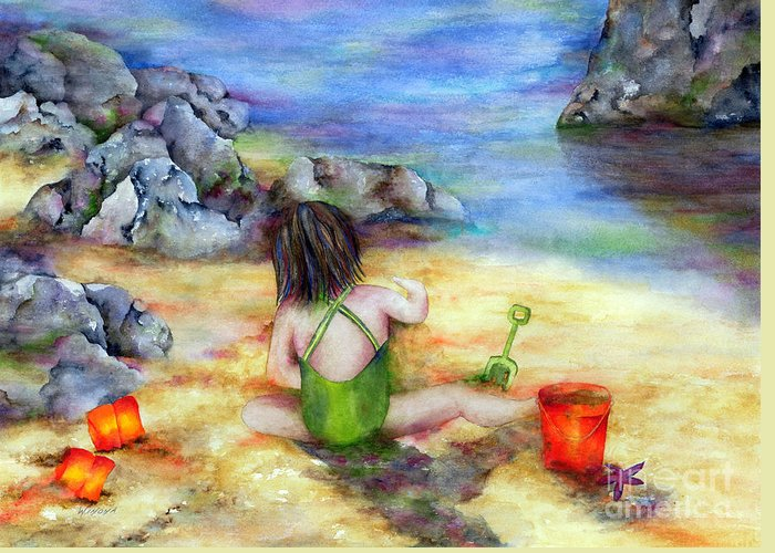 Child Greeting Card featuring the painting Castles In The Sand by Winona Steunenberg