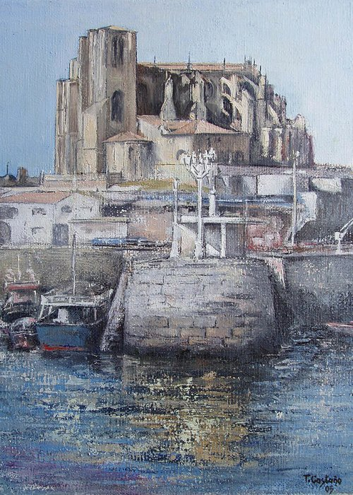 Castro Greeting Card featuring the painting Castro Urdiales by Tomas Castano