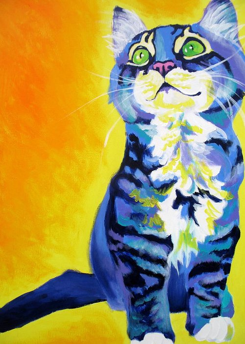 Cat Greeting Card featuring the painting Cat - Here Kitty Kitty by Alicia VanNoy Call