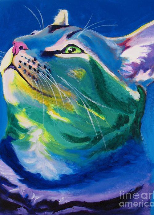 Cat Greeting Card featuring the painting Cat - My Own Piece Of Sky by Alicia VanNoy Call