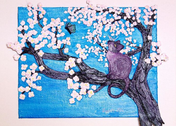 Cherry Tree Greeting Card featuring the mixed media Cat Among The Cherry Blossoms by Sarah Swift