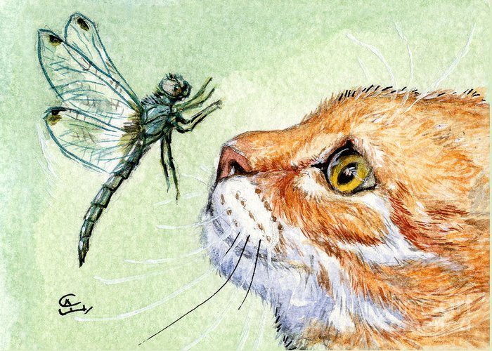 Cat Greeting Card featuring the painting Cat And Dragonfly by Svetlana Ledneva-Schukina