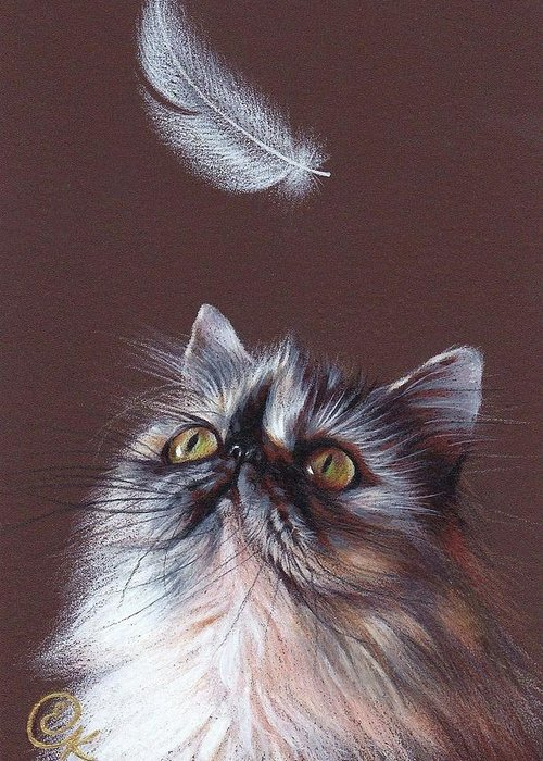 Persian Greeting Card featuring the drawing Cat And Feather by Elena Kolotusha