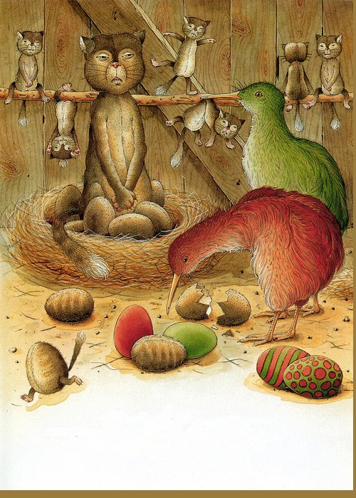 Greeting Card featuring the painting Cat And Kiwis by Kestutis Kasparavicius