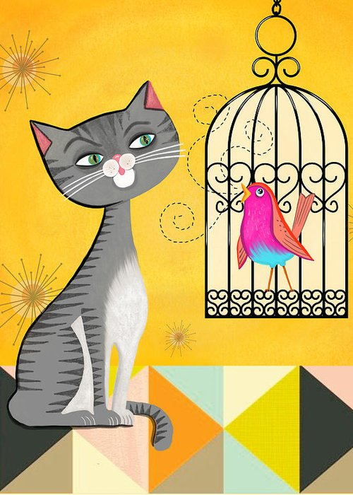 Cat Greeting Card featuring the painting Cat Bird Seat by Little Bunny Sunshine