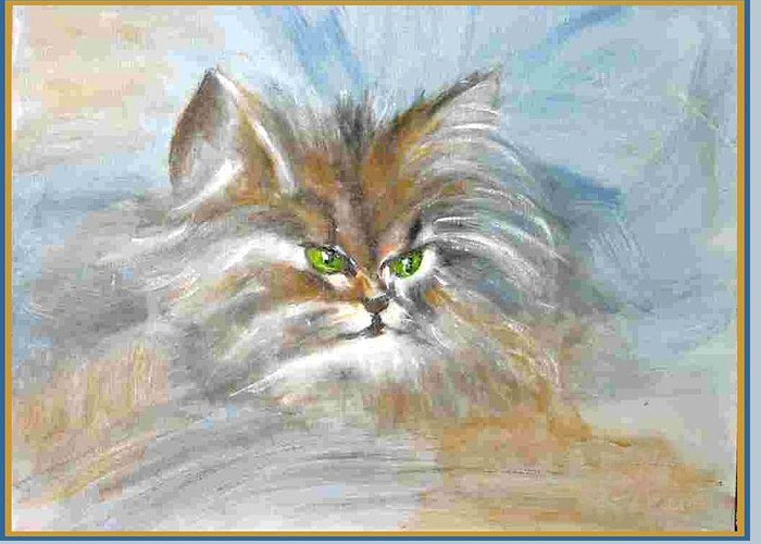 Cat Greeting Card featuring the painting cat by Dragica Micki Fortuna