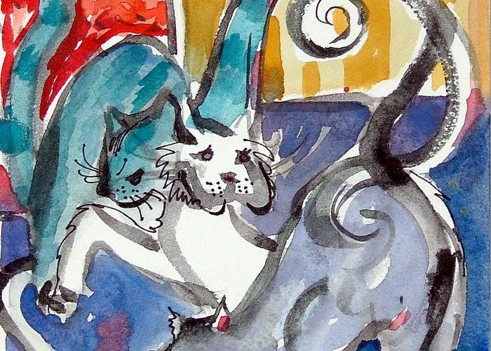 Cat Greeting Card featuring the painting Cat Fight by Mindy Newman