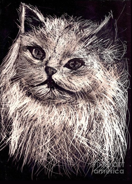 A Cat Print Greeting Card featuring the painting Cat Life by Leonor Shuber
