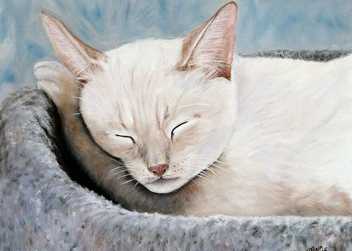 Pets Greeting Card featuring the painting Cat Nap by Merle Blair